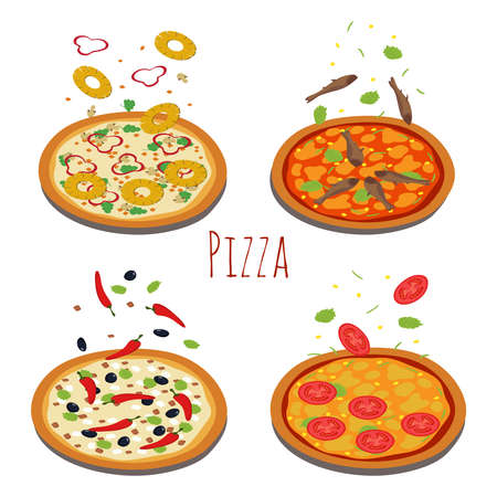 Set of different pizzas with falling ingredients. Pizza with tomato and cheese, pineapple and seafood illustration vector