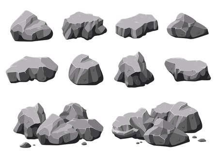 Cartoon natural stones. Boulder rock, stone and rubble pile. Isolated 3d mountain, gray rough granite decoration material vector collection. Rock cartoon boulder, heap stone geology, material rubble Ilustración de vector
