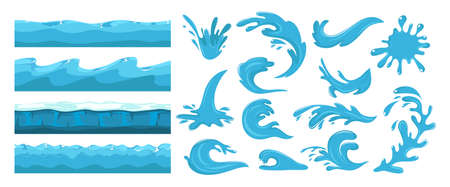 Blue ocean wave. Sea wave, water surface seamless pattern. Cartoon splash, power of waters. Nature, travel or beach journey vector set design. Illustration water ocean and sea pattern, blue flow storm
