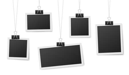 Frames hang on clips. Photo frame hanging, photos clothespin and rope. Retro blank templates for photography, memory image recent vector concept. Illustration empty frame photo, picture template