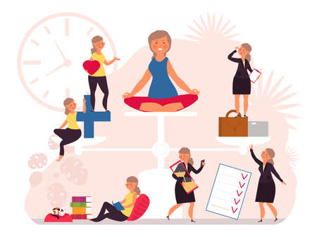 Life balance. Health work equality, women hard working. Woman on scales, stress control and care. Business house money balancing vector. Illustration harmony comparison, management career and relax Vector Illustratie