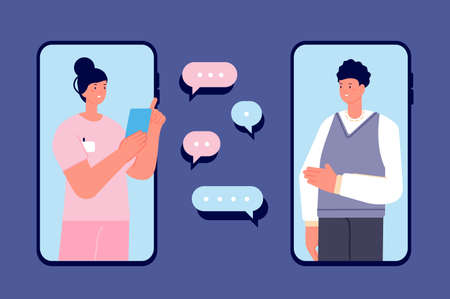 Doctor consulting. Phone medicinal help, doctors app and patient. Online healthcare consultation, telemedicine. Distance clinic visit utter vector concept. Illustration online health mobile