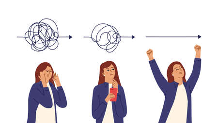 Simplicity process. Girl simplifies matter, thoughtful business woman. Tired confused, searching and happy successful female vector character. Illustration brainstorming and brainstorm solution