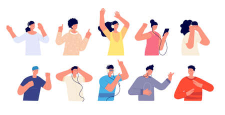 People listen music. Happy person listening in headphones, isolated young guys. Audiobook or podcast in smartphone. Joyful vector characters. Music teenager with phone, character enjoy illustration