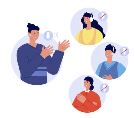 Clubhouse chat room. Social media app for conversation, speaker and audience in white headphones. Listen modern audio podcast utter vector concept. Illustration clubhouse app social media