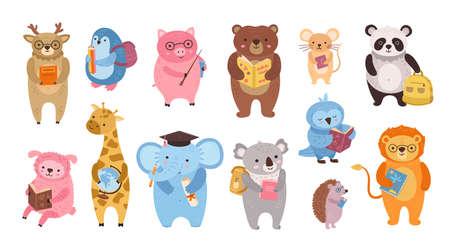 Smart animals. Cute animal teacher, owl study in school. Cartoon education books characters little kids. Funny pig bear panda vector clipart. Illustration smart study giraffe and lion, sheep and deer