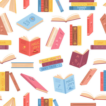 Books seamless pattern. Opened book, notebook stacks. Literature background, library or reading market. Bookstore or education exact vector texture. Illustration school book and notebook for education