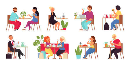 Cartoon people in cafe. Restaurant group, shopping friends drinking. Woman with laptop. Couple drink coffee, work meet on lunch decent vector scenes. Illustration cafe, people drink tea or coffee Vettoriali