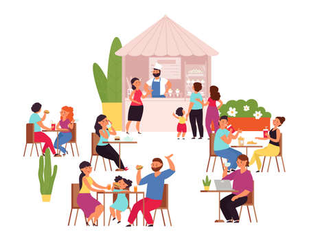 Outdoor cafe. Summer park table, girl drinks coffee. Food and conversation, flat couple lunch in restaurant. Cartoon terrace bar decent vector. Illustration terrace of park, summer outdoor cafe Vettoriali