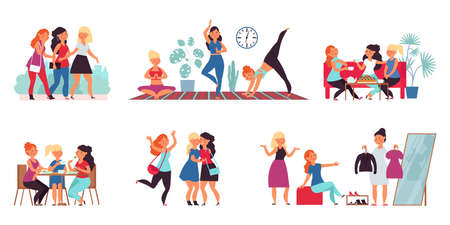 Female friends together. Smiling young friend, adult friendship. Happy sisters, women teamwork community. Girls togetherness decent vector set. Illustration friendship shopping and conversation Vettoriali
