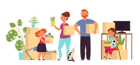 Happy family in new home. Young people move, packaging or cardboard box delivery. Cartoon woman kid moving to apartment decent vector concept. Happy family moving to new home illustration