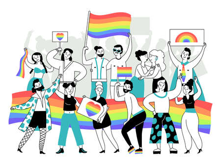 Lgbtq demonstration. Happy lgbt person, couples transgender and gay parade. Women lesbian, bisexual people. Equality gender decent vector concept. Illustration lgbtq pride, happy rainbow flag Vettoriali