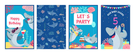 Shark cards. Cute character sharks, baby birthday invitation. Childish under sea posters, kids happy party banners. Festive animal decent vector design. Illustration birthday baby invitation card
