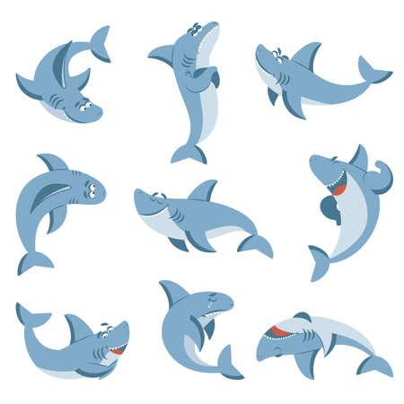 Cartoon shark. Graphic sharks, cute fish for boys kids. Summer sea wild animal. Isolated ocean wildlife beach animals decent vector characters. Illustration shark character, cute wild dangerous