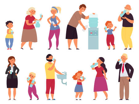 People drinking water. Teens drink, healthy characters. Girl drinks pose, child hold bottle. Business office male with glass vector set. Person drink water, thirst of fresh drinking illustration Vettoriali