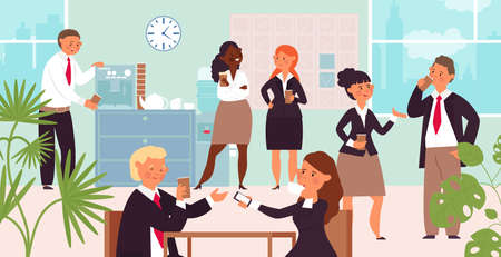 Business coffee break. Office group conversation, managers lunch time. People work and drink hot beverages. Corporate talk decent vector concept. Illustration drink coffee employee, teamwork lunch Vettoriali