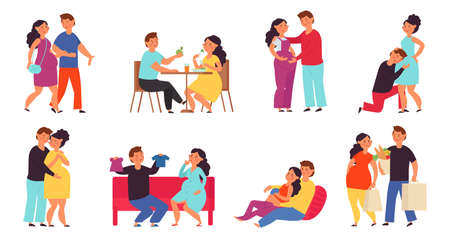 Pregnant couple. Men care women, future mother and husband embracing her. Support of pregnancy wife, maternity parenthood decent vector set. Husband and pregnant woman, couple pregnancy illustration Vettoriali