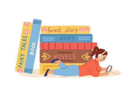 Audiobooks concept. Little kid listen book on smartphone. Girl listening literature podcast. Online library, child and books vector illustration. Audio book, relax and listening podcast
