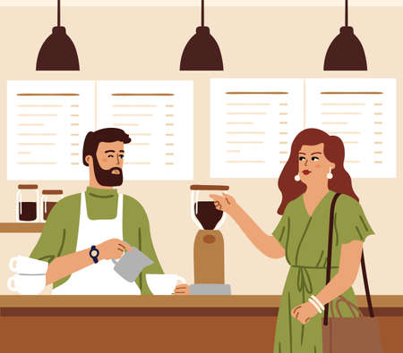 Coffee shop. Barista makes coffee drink for woman. Morning in cafe, cafeteria customer need caffeine energy. Man flirting with stylish girl vector concept. Illustration cafe and coffee house Vettoriali