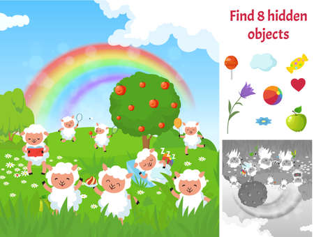 Find hidden objects. Kids puzzle game with sheep on meadow. Fun brain teaser looking different items on green garden landscape. Happy cute sheeps cartoon vector picture. Illustration children puzzle