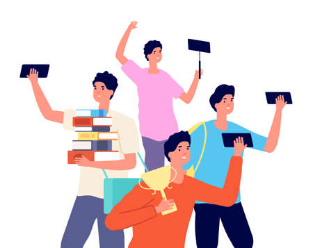 Male blogger. Boy photos on smartphone, young vlogger with gadget. Social media addiction vector concept. Smartphone social photo, cartoon character addiction selfie illustration