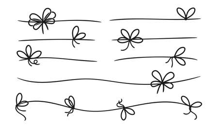 Simple bows. Gift bow knot on line rope. Black present decorative knots. Border or dividers, packaging box vector elements. Ribbon knot and rope, string and cord tie illustration Vettoriali