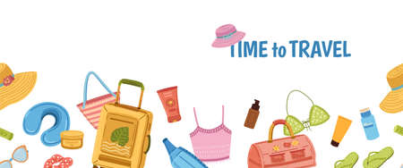 Travel stuff banner. Tourism, tourist luggage and beach bag. Summer vacation seamless border. Ocean sea holidays, season clothes cosmetics and vector. Illustration trip and luggage, tourism adventure