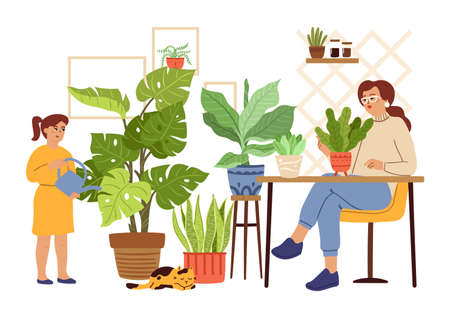 Urban jungle. Gardening mother daughter, girl watering woman planting. Plants in pots, scandinavian home garden vector concept. People gardening and flowerbed, woman and chid illustration