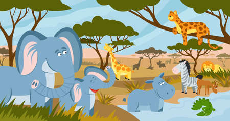 Savanna animals. African summer animals, savannah lands landscape. Funny tropical zoo, safari park panorama with decent flat wild vector characters. Illustration lion and zebra, crocodile and hippo