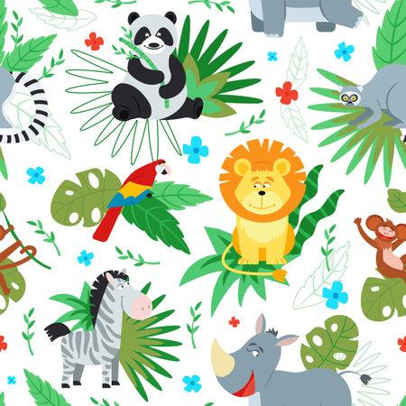 Cartoon jungle animal print. Animals pattern, safari background. Cute wild lion monkey panda parrot. Tropical childish decent vector texture. Illustration jungle wildlife, wallpaper fabric