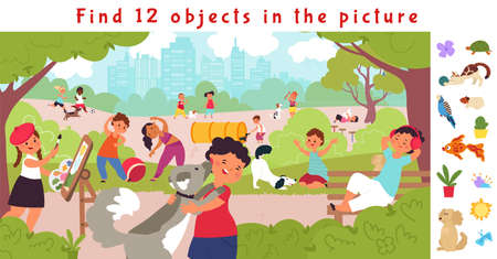 Hidden objects puzzle game. Find object, children in park. Fit kids, resting on nature with puppy. Funny brain teaser vector. Children brainteaser, kids playful and resting with puppy illustration