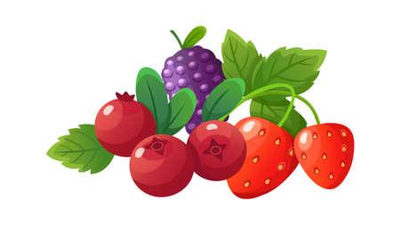 Cartoon berries. Fresh berry, isolated strawberry cranberry blackberry. Seasonal fresh vitamin dessert, vegan food vector composition. Illustration food fresh, sweet strawberry dessert, organic berry Vettoriali