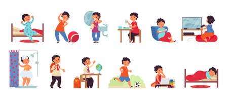 Boy daily activities. Activity child, day schedule young guy. Isolated active kid morning, hygiene and study. Person routine decent vector scenes. Illustration of kid schedule, active boy routine Vettoriali