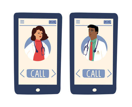 Online doctor app. Doctors avatars on screen. Smartphone with female male medical person, hospital telemedicine vector. App online, hospital doctor, specialist assistance diagnosis illustration