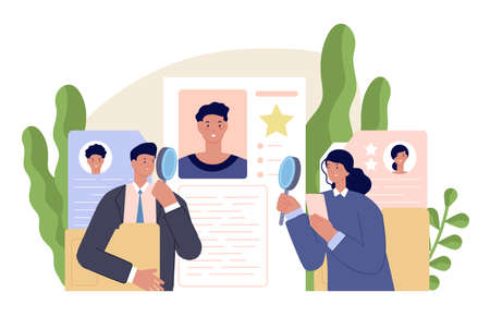 Business human resources. Hr manager team hire humans. Application forms, search recruit talent humans. Business career utter vector concept. Illustration recruitment team and hiring candidate Vettoriali