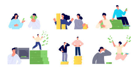 Wage inequality. Woman man salary gap, corporate working. Businesswoman compare pay. Income coins money, flat finance growth vector set. Illustration inequality wage discrimination, salary difference
