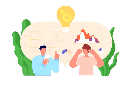 Creative group working. Young creatives, collaboration diversity minds. Coworkers studio agency, professional creator team utter vector concept. Group mind and work idea, business team illustration