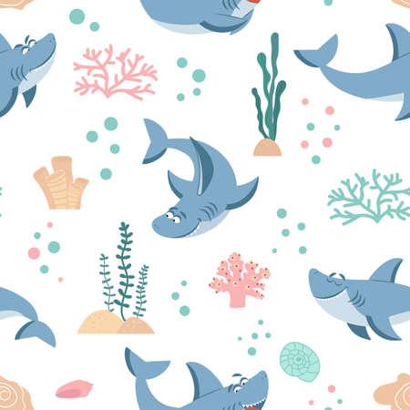 Sharks pattern. Seamless shark print, ocean fish wrapping. Marine life kids background, beach cloth or wallpaper decent vector texture. Illustration seamless shark cartoon, animal pattern predator