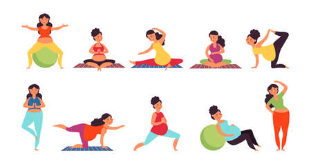 Yoga for pregnant. Pregnancy woman relaxing, pilates or gym exercise. Prenatal sport support, healthy female waiting baby decent vector set. Illustration maternity fitness, healthy mother pregnancy