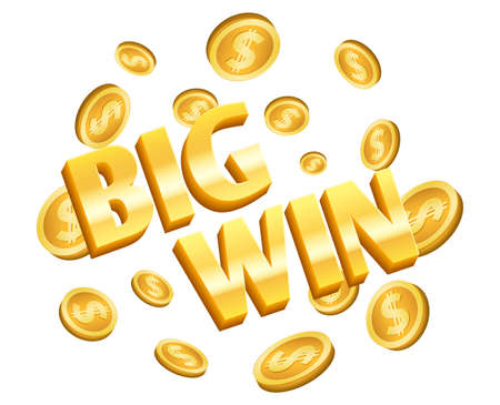 Big win banner. Gold coins, winner lottery isolated label with flying coins. Golden dollar cash, congratulation vector 3d element. Illustration casino and gambling game, lottery win