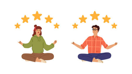 Five stars rating. Golden star flying over happy relaxed people. Customer review vector concept. Illustration stars customer, rate success person management, evaluation report Vettoriali