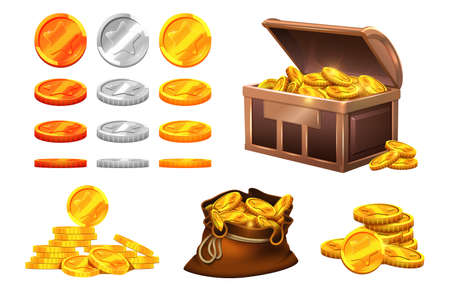 Golden silver coins. Wooden chest coin treasures, bronze gold medals with stars. Isolated bag with money, cartoon game vector elements. Chest with money silver and gold illustration Vettoriali