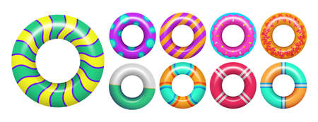 Rubber rings. Colorful swimming ring for sea or pool. Isolated vacation realistic accessories for swim vector set. Illustration rubber ring equipment, float and lifebuoy for pool Vettoriali