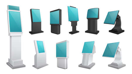 Realistic kiosk screen. Display mockup, touch digital stands. Payments or electronic ad boards. Isolated interactive touchscreen monitor vector set. Kiosk realistic, monitor digital info illustration