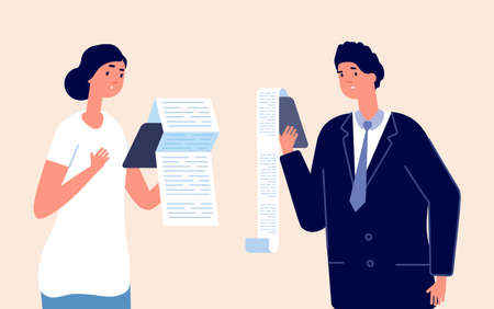 People with check. Confused businessman, woman long payment list. Cartoon sad accounting male female vector characters. Businessman with check, manager solution, management confused illustration Vettoriali