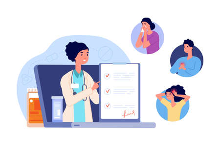 Telemedicine. Online consultation, web medical professional and insurance. People with pain call to doctor vector concept. Doctor online, web medicine consultation on laptop