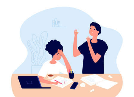 Work crisis. Tired man woman, crises in creative team. Angry managers, people have not new ideas. Creativity problems vector concept. Work problem stress and tired, frustrated crisis illustration Vettoriali