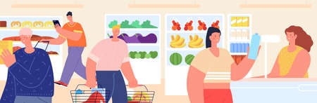 Customer in food store. Buy products, paying with credit card. Person in grocery shop or supermarket with cart cashier utter vector banner. Customer in supermarket or store, woman with food product