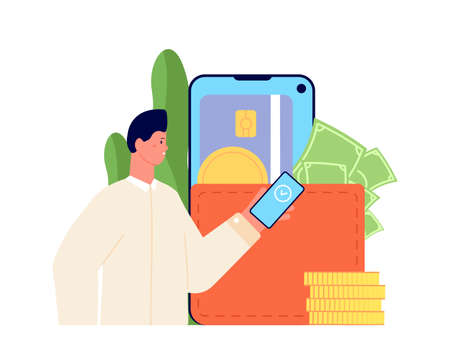 E-wallet concept. Mobile digital app, using access credit card. Payment with phone, cashless business deal. Man pays, transaction utter vector concept. Illustration payment wallet, money on smartphone