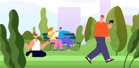People rest in city park. Young girls walk, summer outdoor recreation. Town green area, nature trail in urban landscape vector illustration. City outdoor park green tree, activity nature landscape
